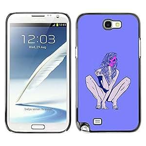 Ihec Tech Stripper Muerte Púrpura mujer Piernas / Funda Case back Cover guard / for Samsung Note 2 N7100