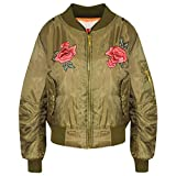 A2Z 4 Kids® Girls Jacket Kids Roses Print Bomber Padded Zip Up Biker Jackets MA1 Coat 5-13 Y
