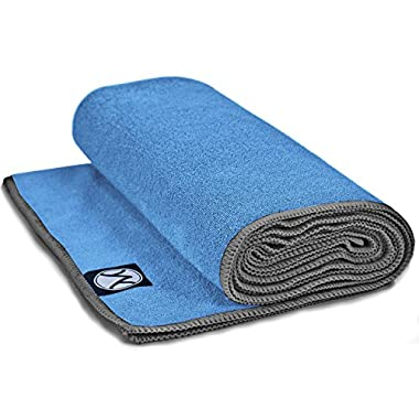 Youphoria 24-Inch-by-72-Inch Microfiber Yoga Towel, Blue Towel/Gray Stitching