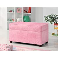 Kids Storage Bench in Fuzzy Pink Fabric