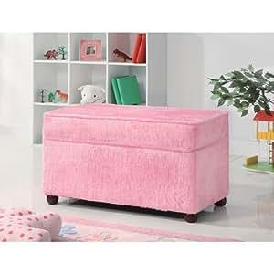 Charmant Kids Storage Bench In Fuzzy Pink Fabric