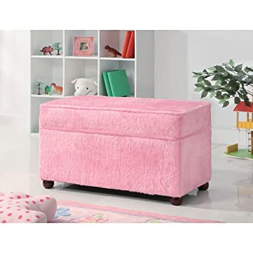 Elegant Kids Storage Bench In Fuzzy Pink Fabric