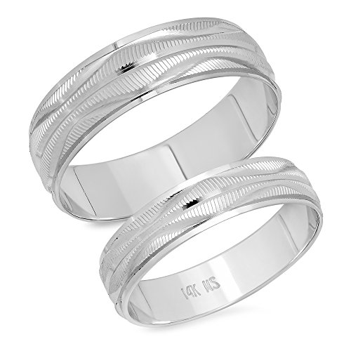 His & Her's 4.5MM/6.0MM 14K Solid White Gold Wave Design Wedding Band Ring Set (Wave White Design Gold)