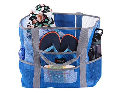 Holly LifePro Mesh Beach Bag Toy Tote Bag Large,Lightweight Market Grocery & Picnic Tote with Oversized Pockets,Inside Zippered Pocket,Carry All Organizer Bag Blue (Plastic Tote Beach)