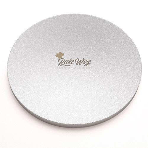 Cake Drum Round - Decorating Drum - Round Board Durable 12 Inch by ½ Inch Thick - Smooth Edge Elegant Design Cake Tray - Embossed Silver Liner - By BakeWize