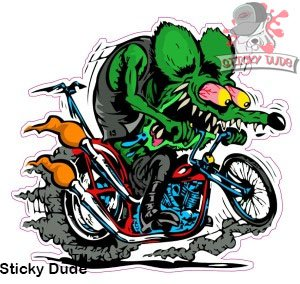 2 Two Pieces 5 Inches Rat Fink On Motorcycle Funny Sticker