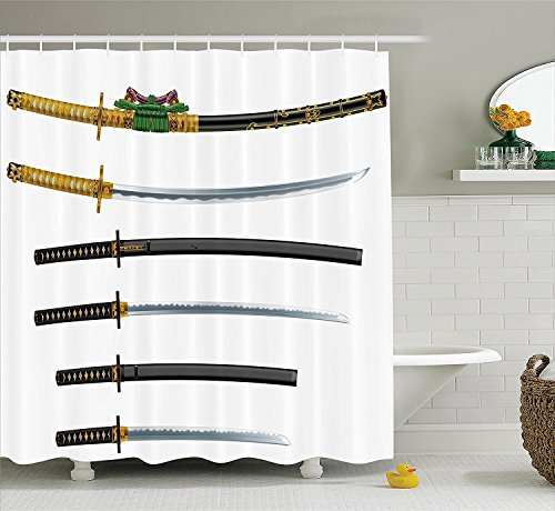 [Japanese Decor Shower Curtain Set Set of Curved Slender Single-Edged Blade Japanese Swords Katana Historical Guard Image Bathroom Accessories Gold] (Vintage Pin Up Girl Costume Ideas)