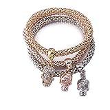 Stretch Bracelets 3PCS Skull Corn Chain Crystal Charms Multilayer Bracelets for Women Gold/Silver/Rose Gold Plated