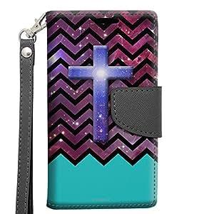 Samsung Galaxy S6 Edge Wallet Case - Cross on Chevron Black White Turquoise Ribon on Nebula