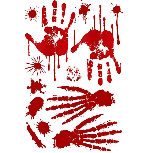 1PC Halloween New 3D Self Adhesive Horror Blood Hands Wall Stickers Remove Wall Decal Paper Art Home Decor (A, 30x45cm) ()