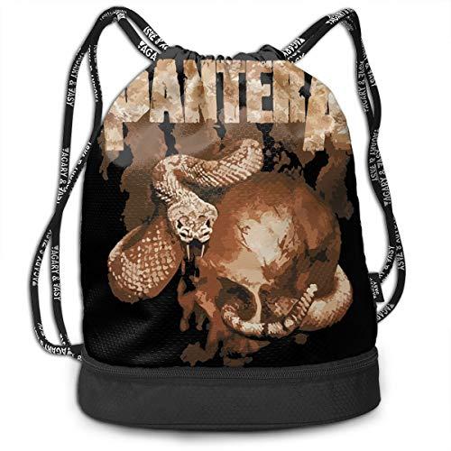- Lixue Pantera Rattler Skull Print Drawstring Backpack Rucksack Shoulder Bags Sport Gym Bag with Pockets Waterproof Lightweight