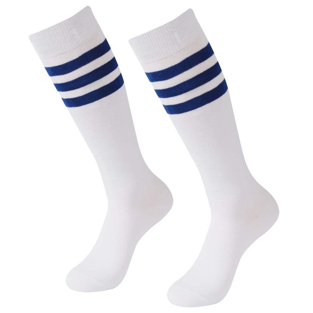 Long tube Football Socks, SUTTOS Youth Girls Kids Youth Boys Soccer Socks Cotton Stripe Solid Color Knee-High Outdoor Sports Socks Chearleading Team Socks 2 Pairs ... by SUTTOS