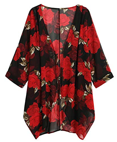 Tribear Women's Sheer Chiffon Kimono Cardigan Solid Casual Capes Beach Cover up (Medium, Red -