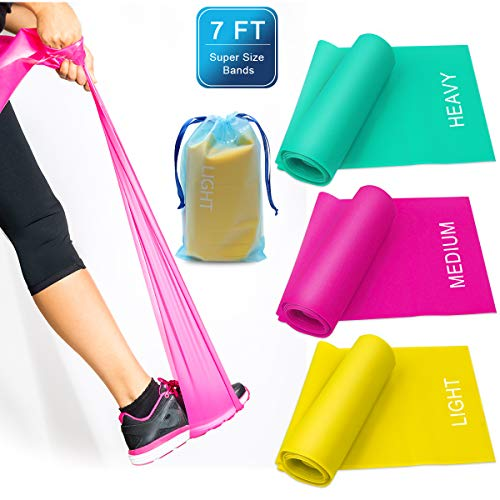 Coolrunner 7FT. Long Latex Free Elastic Flat Exercise Band Set of 3 with Carry Bag, Wide Fitness Resistance Bands for Pilates, Gym, Physical Therapy, Yoga, Carry Bag, Green & Yellow - Bands Flat Therapy