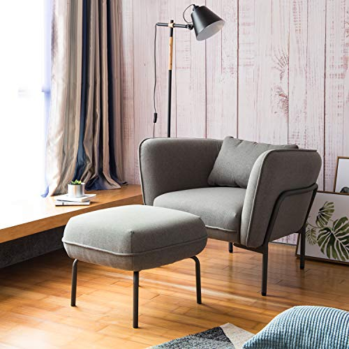 Modern Simplicity Industrial Style Frabic Club Chair with Ottoman One Seater Turtledove Grey