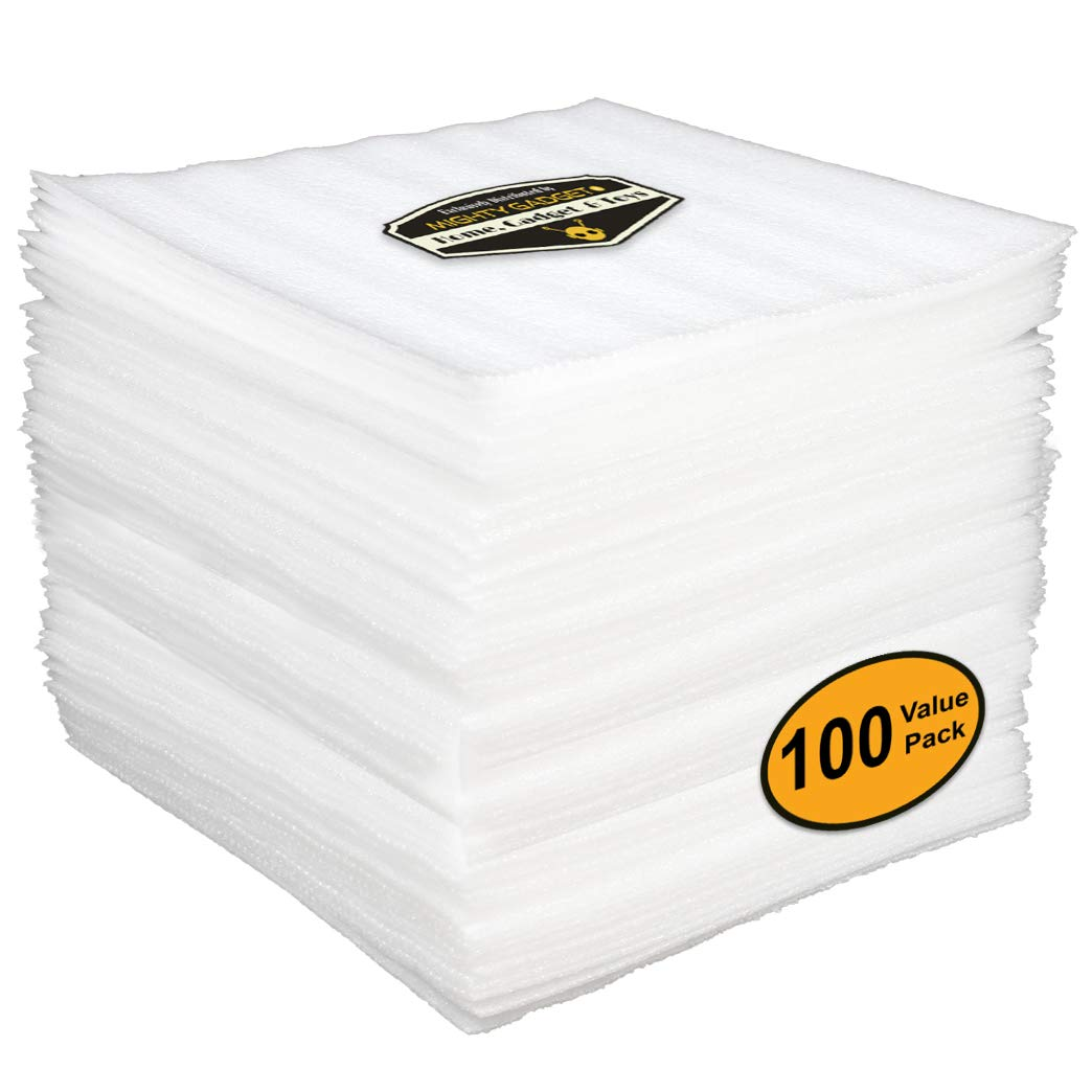 100 Value Pack of Mighty Gadget (R) 12'' x 12'' Foam Sheets Cushion for Moving Storage Packing Shipping Supplies Safely Wrap Dishes Plates Glasses Furniture Legs Edges Fragile Item Table China (White)