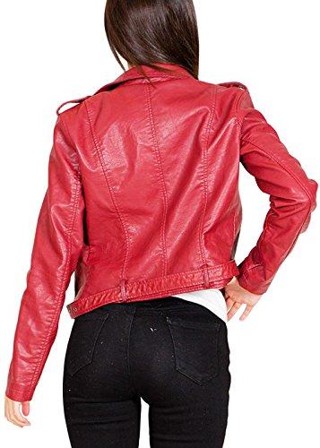 Slim Revers Veste Fit Moto Femme Cuir en Biker Classique Veste Rouge Courte De Col 5xIxHfq