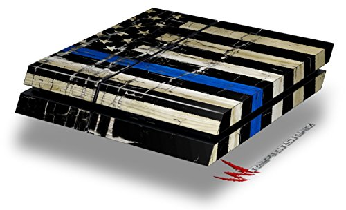 Painted Faded Cracked Blue Line Stripe USA American Flag – Decal Style Skin fits original PS4 Gaming Console