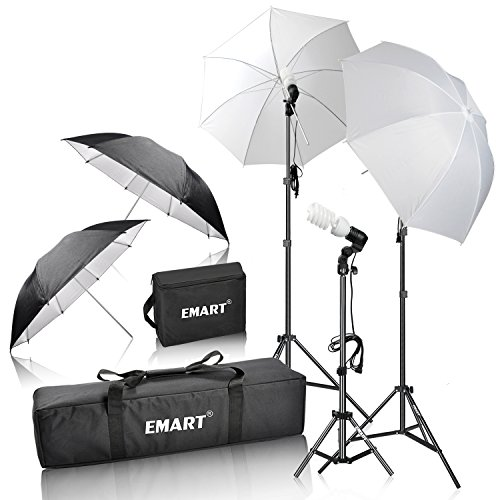(Emart 600W Photography Photo Video Portrait Studio Day Light Umbrella Continuous Lighting Kit)