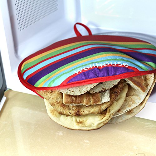 wellhouse Tortillar Warmer 12 Inch Insulated Microwave-Safe Fabric Pouch with Enough Space for 15 Tortillas Keeps Tortillas Heated for up to 1 Hour Stripe-1 Pack