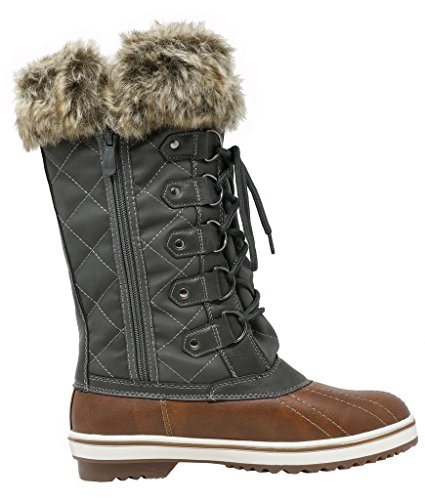 DREAM PAIRS Frauen Schweizer Mid Kalb wasserdicht Winter Snow Boots Tan Khaki