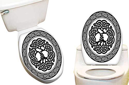 "Toilet Seat Sticker Native Celtic Tree of Life Figure Ireland Early Renaissance Artsy Medallion Design Black Waterproof Decorative Toilet Cover Stickers 15""x17"""