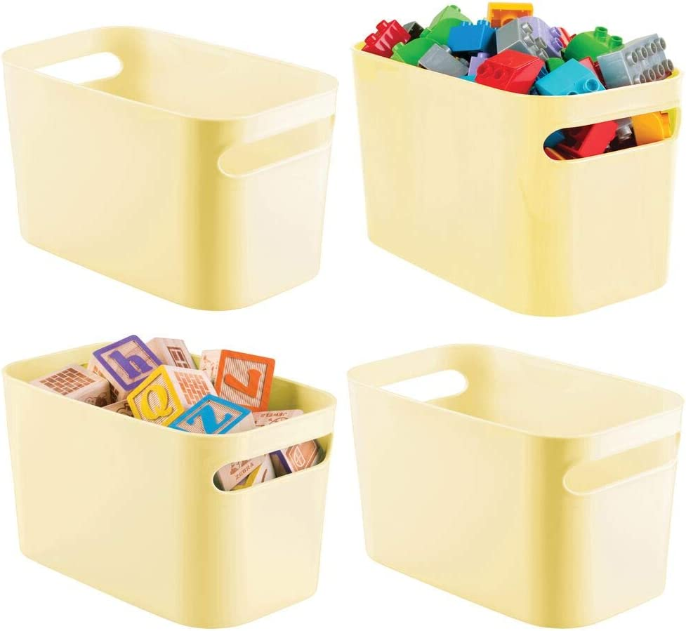 mDesign Plastic Toy Storage Organizer Tote Bin with Handles for Child/Kids Bedroom, Toy Room, Playroom - Holds Action Figures, Crayons, Building Blocks, Puzzles, Crafts - 10 Inches, 4 Pack - Yellow