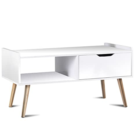 Giantex Coffee Table TV Stand End Table Living Room Furniture Contemporary  Home Side Table w/Wood Legs Storage Drawer and Shelf,White