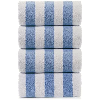Large Turkish Beach Towel, Pool Towel with Cabana Stripe, Eco Friendly, 100% Turkish Cotton (Blue 4 Pack 30x60 inches) by Turkuoise Towel