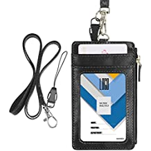 """Badge Holder with Zip, Wisdompro Double Sided PU Leather ID Badge Card Holder with 5 Card Slots, 1 Side Zipper Pocket and 20"""" PU Neck Lanyard / Strap - Black (Vertical)"""
