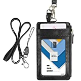 "Badge Holder with Zip, Wisdompro 2-Sided PU Leather ID Badge Holder with 1 ID Window, 4 Card Slots, 1 Side Zipper Pocket and 1 piece 20"" PU Neck Lanyard / Strap - Black (Vertical)"