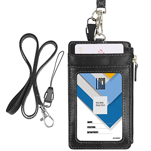 Badge Holder with Zip, Wisdompro 2-Sided Vertical Style PU Leather ID Badge Holder with 1 ID Window, 4 Card Slots, 1 Side Zipper Pocket and 1 Piece 20 Inch PU Neck Lanyard/Strap - Black