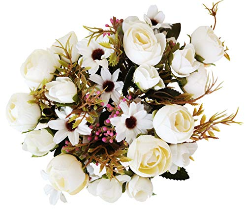 (Faberry 5 Branch 12 Heads Artificial Fake Flowers Plants Rose Wedding Floral Decor Bouquet Pack of 3 (White))
