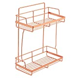 Simmer Stone 2 Tier Shelf, Wall Mount Home & Kitchen Storage Spice Rack, Rectangle, Size 11.8''X5.7''X14.5''(LxWxH), Copper