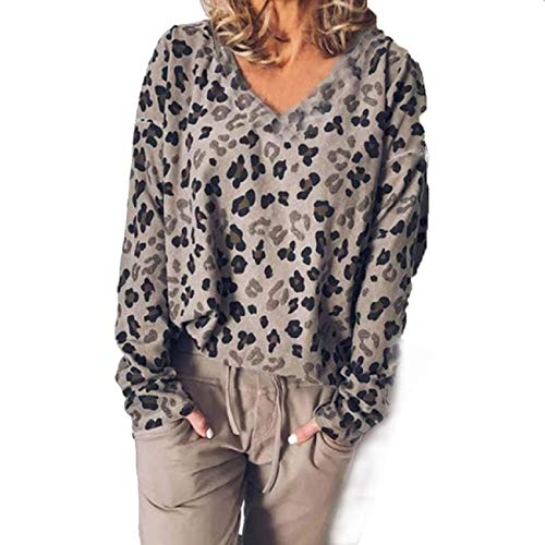 FAPIZI Women Fashion Leopard Printed V Neck Long Sleeve Blouse T Shirt Autumn Winter Casual Loose Pullover Sweatshirt Gray