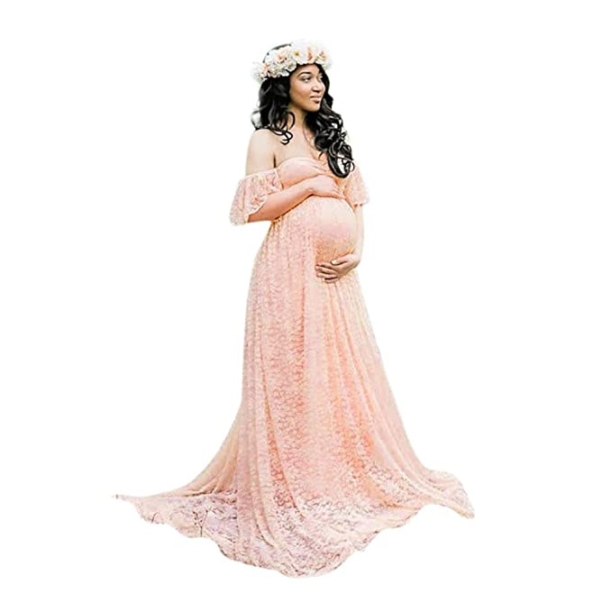 3e5d9ff3ff7 Maternity Dress Women s Summer Floral Lace Short Sleeve Dress Bohemian Off  Shoulder Pregnancy Maxi Dress Photography