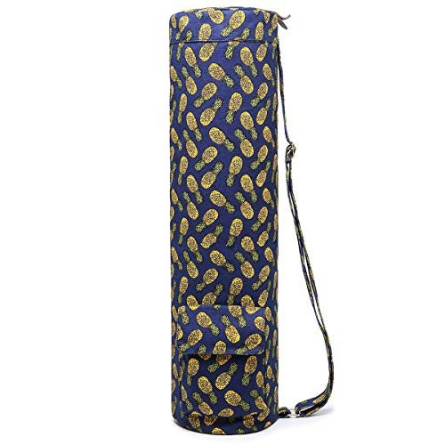 Boence Yoga Mat Bag, Full Zip Exercise Yoga Mat Sling Bag with Sturdy Canvas, Smooth Zippers, Adjustable Strap, Large Functional Storage Pockets - Fits Most Size Mats (Pineapple)