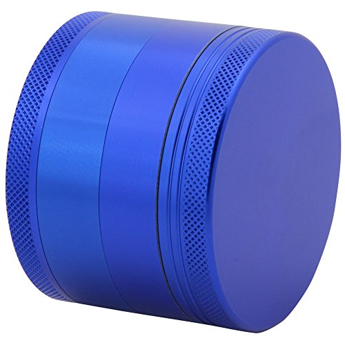 DCOU Large Aluminum Pollen Tobacco Grinder / Spice Grinder / Herb Grinder / Weed Grinder / Plant Grinder with Sifter, with Magnetic Cover, 4 Piece 2.5 Inches (Blue) (Smooth Vaporizer compare prices)