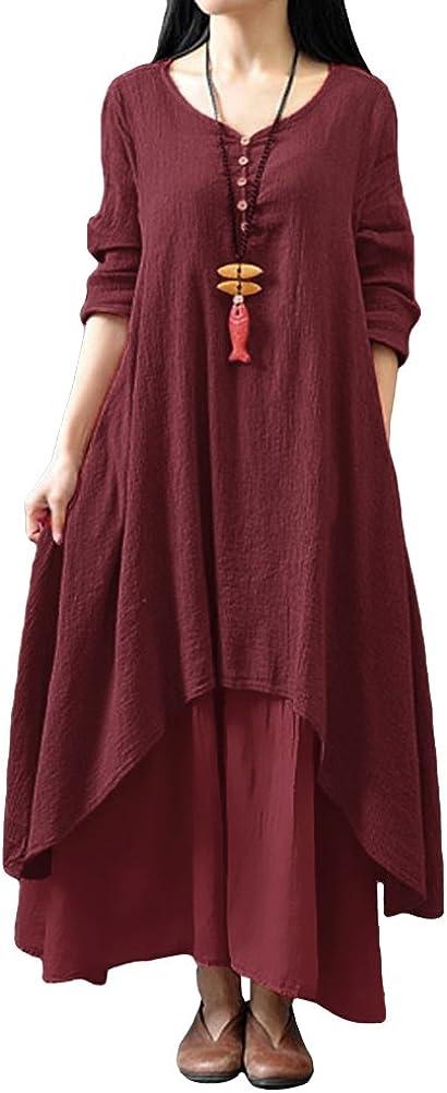 TALLA L. Romacci Vestido Suelto Vestido Ocasional de Las Mujeres Manga Larga Sólida Maxi Vestido Largo de Boho Vino Rojo