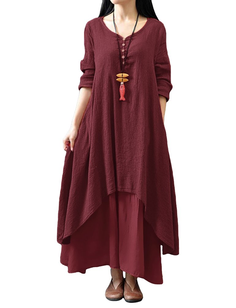 Romacci Women Boho Dress Casual Irregular Maxi Dresses Layered Vintage Loose Long Sleeve Linen Dress,S-5XL