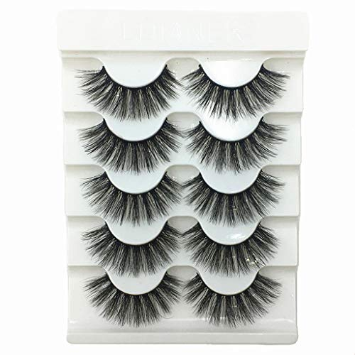 Rucan Sexy Party 3D False Eyelashes Lashes Voluminous Eye Lashes 5 Pair Makeup Lashes ()
