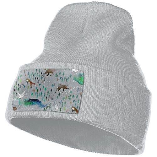 Unisex 100% Acrylic Knitting Hat Cap, Song of The Yukon Pattern Warm Beanie -