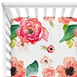 Sahaler Baby Floral Fitted Crib Sheet for Boy and Girl Toddler Bed Mattresses fits Standard Crib Mattress 28x52 (Coral Watercolor)