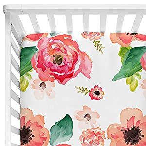 Baby Floral Fitted Crib Sheet for Boy and Girl Toddler Bed Mattresses fits Standard Crib Mattress 28×52″ (Coral)