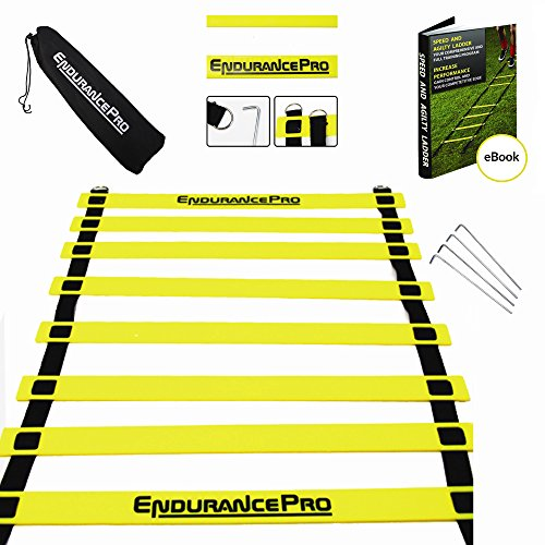Agility Ladder Speed Ladder Improve Footwork with Ladder Drills eBook, Bag, Pegs Highest Quality Agility Training Ladder By Endurance Pro