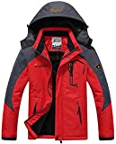 Sawadikaa Men's Outdoor Waterproof Mountain Fleece Plus Size Ski Jacket Sportwear Red Medium