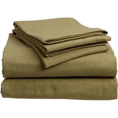 Divatex 100-Percent Cotton Flannel Full Sheet Set, Green