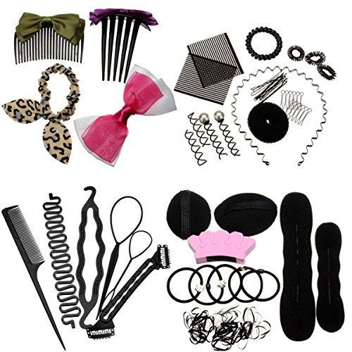 45PCS Hair Design Styling Accessory Hairpins Clip Donut Tool Kit Hairdresser Kit Magic Hair Clip Styling (Dressers French Style)