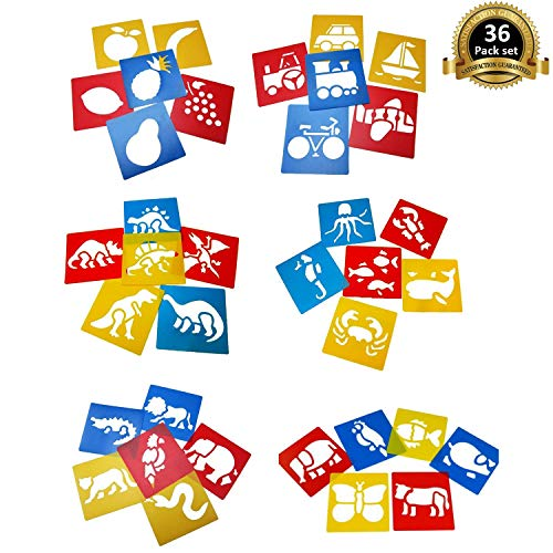 Lependor 36 Pieces Plastic Drawing Painting Stencil Templates for Kids Crafts - Washable Template for School Projects - Random Colors