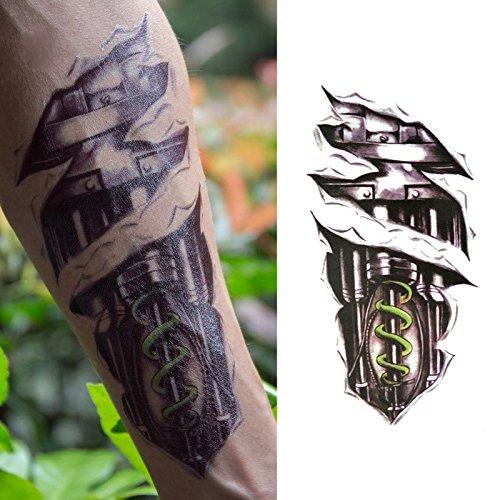 Oottati Old School Mechanical Black Arm Temporary Tattoo